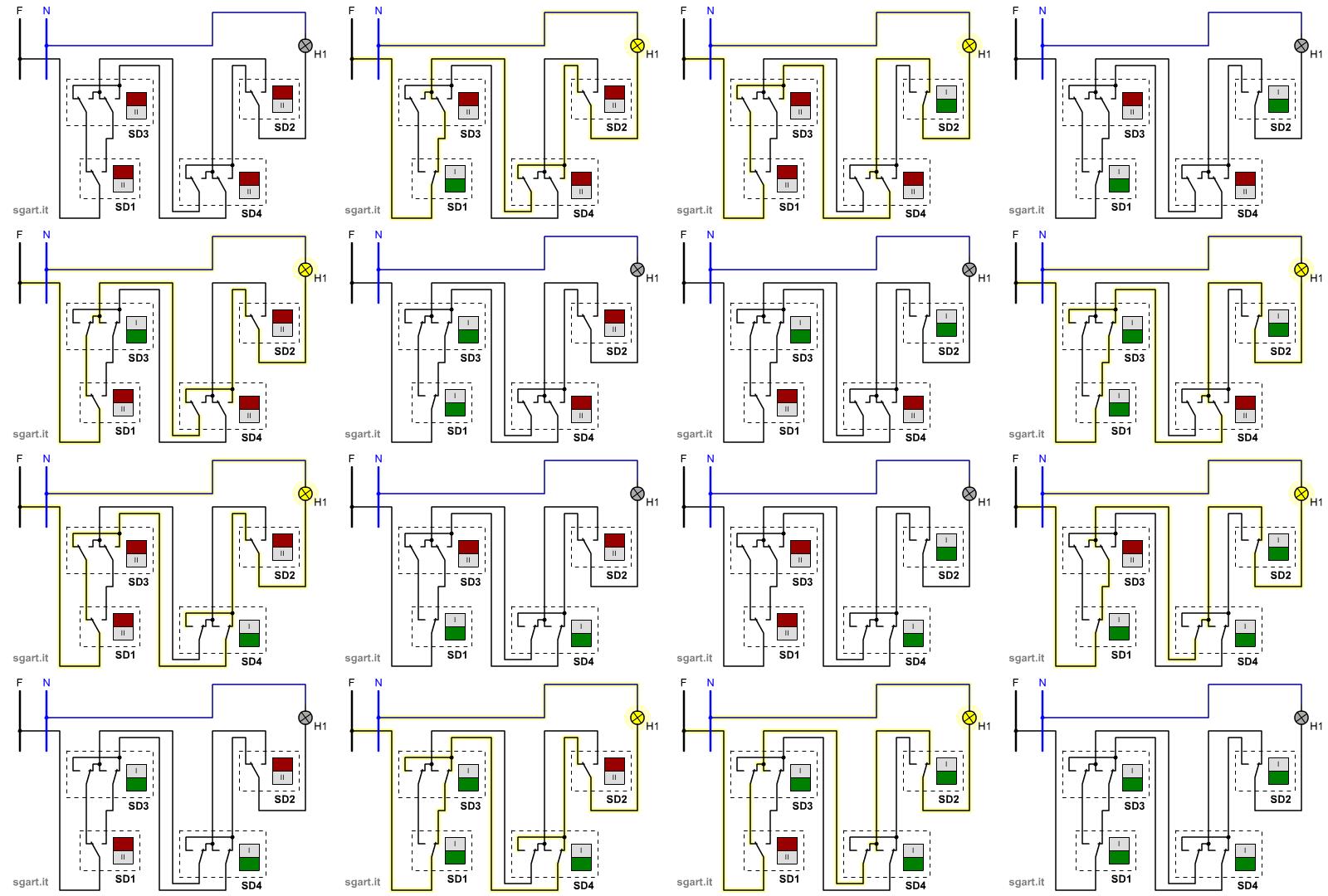 Schema Elettrico Per 3 Punti Luce : Simulazione circuiti elettrici civili accensione da più